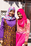 Festively dressed Muslim women at the end of Ramadan,  in Nusa Penida-Bali, Indonesia Royalty Free Stock Photography