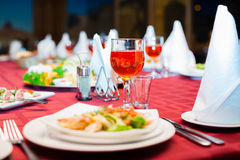 Festively served banquet table Royalty Free Stock Photo