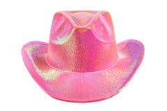 Festively shining pink stetson cowboy hat. One festively shining pink stetson cowboy hat, full face, on white background; isolated Royalty Free Stock Photos
