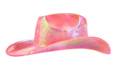 Festively shining pink stetson cowboy hat. One festively shining pink stetson cowboy hat, from one side, on white background; isolated Stock Images