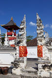 Festively verfraaide Hindoese tempel, Nusa Penida Toyopakeh, prov bali indonesië Royalty-vrije Stock Afbeelding