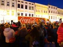 Festividades 2018 do camion da coca-cola imagem de stock