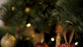 Festività del Natale Casa meravigliosamente decorata con un albero di Natale Primo piano della bagattella di colore che pende dal video d archivio