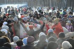 Festività Maslenitsa a Tomsk Immagine Stock