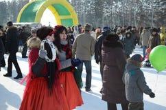 Festività Maslenitsa a Tomsk Fotografia Stock