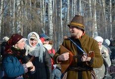 Festività Maslenitsa a Tomsk Immagini Stock Libere da Diritti