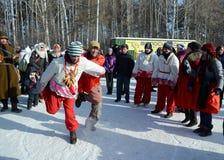 Festività Maslenitsa a Tomsk Fotografia Stock Libera da Diritti