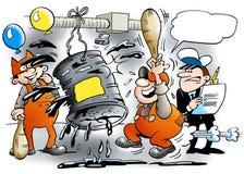 Festiviteiten op de mechanische workshop royalty-vrije illustratie