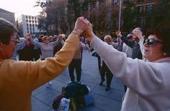 Festivites fuori della cattedrale di Santa Eulalia Fotografie Stock Libere da Diritti