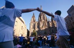 Festivites fuori della cattedrale di Santa Eulalia Fotografia Stock