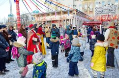 Festivities and fun at the celebration of Maslenitsa in Moscow, Russia stock photo