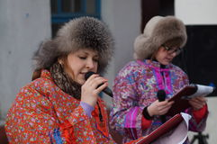 Festivities for the holiday of Maslenitsa in Russia. Royalty Free Stock Images