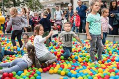 Festivities in honor of the birthday of the 870th anniversary of. Moscow, RUSSIA - September 10, 2017: children play on the playgrounds, on street Tverskaya Stock Image