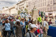 Festivities in honor of the birthday of the 870th anniversary of. Moscow, RUSSIA - September 10, 2017: tourists and citizens walking on the street Tverskaya Stock Photography