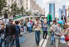Festivities in honor of the birthday of the 870th anniversary of. Moscow, RUSSIA - September 10, 2017: tourists and citizens walking on the street Tverskaya Stock Image