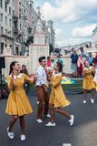 Festivities in honor of the birthday of the 870th anniversary of. Moscow, RUSSIA - September 10, 2017: tourists and citizens walking on the street Tverskaya Stock Photo