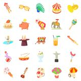 Festivities icons set, cartoon style Royalty Free Stock Image
