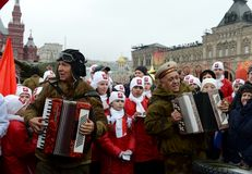 Festivities on November 7 at the red square in Moscow. Stock Image