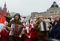 Festivities on November 7 at the red square in Moscow. Stock Photography