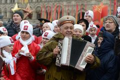 Festivities on November 7 at the red square in Moscow. Royalty Free Stock Image