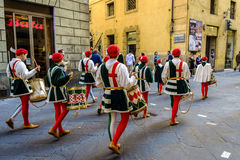 Festivities relationated with Palio in the streets of the city. Siena, Italy - May 11, 2014: festivities relationated with Palio in the streets of the city Royalty Free Stock Image