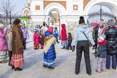 Festivities at the Russian celebration of Maslenitsa at the Chur Royalty Free Stock Image