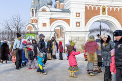 Festivities at the Russian celebration of Maslenitsa at the Chur Royalty Free Stock Images