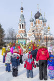 Festivities at the Russian celebration of Maslenitsa at the Chur Royalty Free Stock Photo