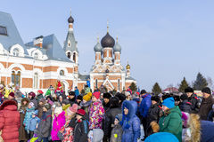 Festivities at the Russian celebration of Maslenitsa at the Chur Royalty Free Stock Photos