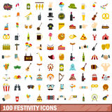 100 festivity icons set, flat style Royalty Free Stock Photography