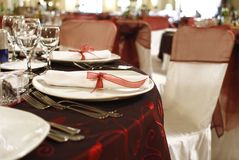 Festivity table arrangement Stock Photo