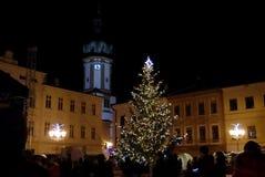 Festivo de iluminar uma árvore de Natal 2017 Fotografia de Stock