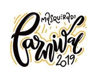Festivo feliz del carnaval aislado en el fondo blanco Letras dibujadas mano stock de ilustración
