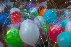 Festivo multi-colorido incandescer conduziu bolas foto de stock royalty free