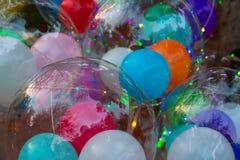 Festivo multi-colorido incandescer conduziu bolas fotografia de stock royalty free