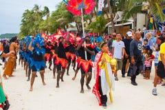 Festiwal ATI na Boracay, Filipiny Jest świętuję każdy Zdjęcie Stock