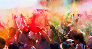 Festiwal kolory Holi Barcelona Fotografia Royalty Free