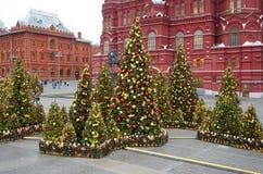 Festiwal Moskwa Przyprawia choinki i świąteczną dekorację -, Moskwa, Rosja Obraz Stock