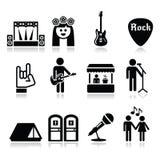 Festiwal muzyki, żyje koncertowe ikony ustawiać Zdjęcia Royalty Free