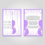 Festiwal muzyki broszurki flier projekta szablon Wektor koncertowa plakatowa ilustracja Ulotka okładkowy układ w A4 rozmiarze Zdjęcia Royalty Free