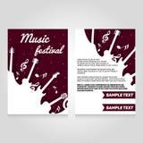 Festiwal muzyki broszurki flier projekta szablon Wektor koncertowa plakatowa ilustracja Ulotka okładkowy układ w A4 rozmiarze Zdjęcie Royalty Free