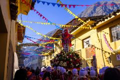 Festiwal señor De Choquekillka w Ollantaytambo obraz royalty free