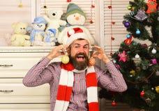 Festiwale i wystroju pojęcie Święty Mikołaj z szczęśliwą twarzą zdjęcie stock