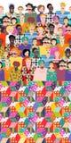 festiwale Kolorowy niekończący się wzór z ludźmi różni wieki, rasy ilustracja wektor