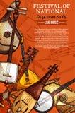 Festiwali/lów muzyki instrumentów wektoru krajowy plakat ilustracji