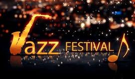 Festiwalu Jazzowego miasta Bokeh gwiazdy Saksofonowego Złocistego połysku Żółty tło 3D Fotografia Stock