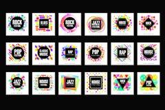 Festiwalu Muzyki loga set, klasyk, dom, wystrzał, rap, jazzowej muzyki projekta elementu wektoru ilustracje royalty ilustracja
