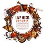 Festiwalu muzyki plakat instrumenty muzyczni ilustracji
