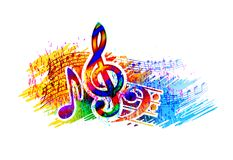 Festiwalu muzyki tło dla przyjęcia, koncerta, jazzu, rockowego festiwalu projekta z muzycznymi notatkami, treble clef i basowego  Zdjęcie Stock
