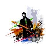 Festiwalu muzyki tło dla przyjęcia, koncerta, jazzu, rockowego festiwalu projekta z muzykami, gitarzysty i saksofonowego gracza, Fotografia Royalty Free